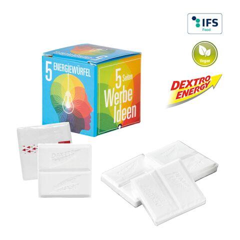 Mini Promo-Cube with 5 Dextro Energy White | 1-colour printing