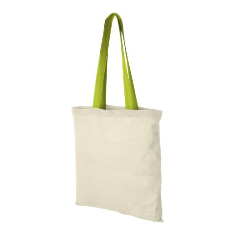 Nevada 100 g/m² cotton tote bag coloured handles Standard | Natural-Apple Green | not available | not available | No Branding