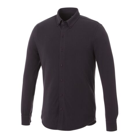 Bigelow long sleeve men's pique shirt Storm grey   S   No Branding   not available   not available   not available