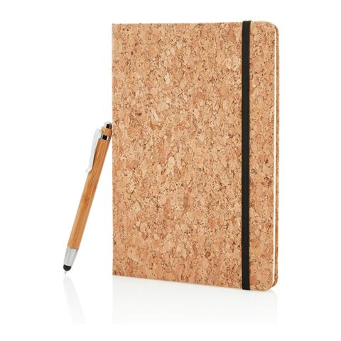 Cork A5 notebook with bamboo pen including stylus