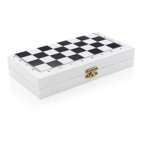 Deluxe 3-in-1 board game in wooden box white | Without Branding | not available | not available