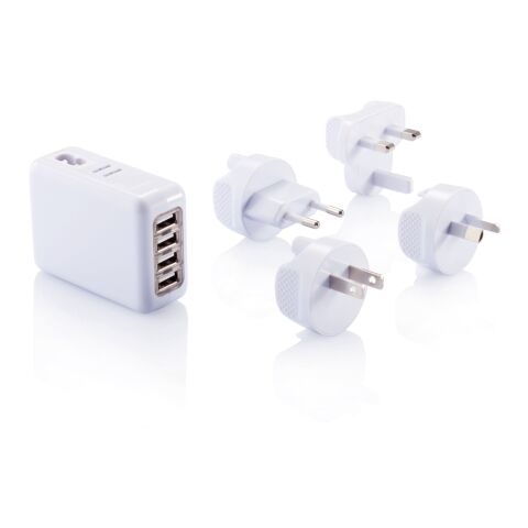 Travel plug with 4 USB ports white | Without Branding | not available | not available